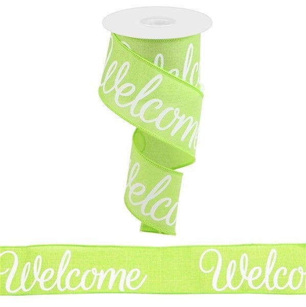 """2.5""""X10yd Welcome On Royal LIme/White"""
