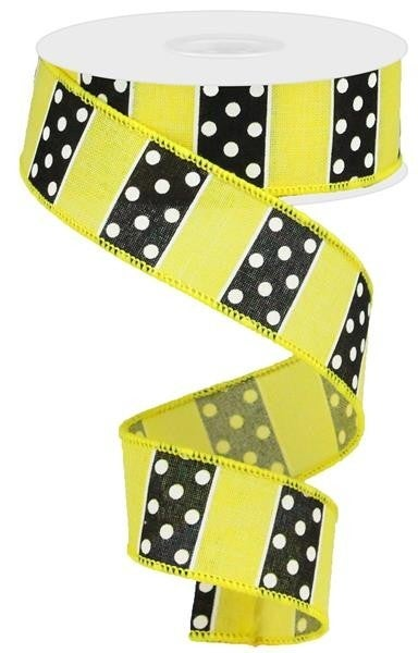 "1.5""X10YD POLKA DOT/STRIPES YELLOW/BLACK/WHITE"