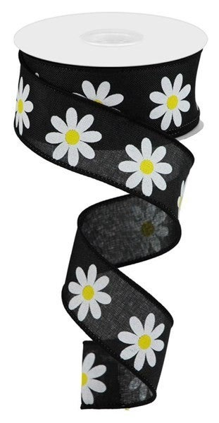 "1.5""X10YD DAISY ON ROYAL Black/White/Yellow"