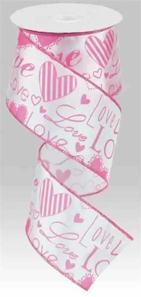 """2.5""""X10yd Love Font W/Hearts Color: White/Pink"""