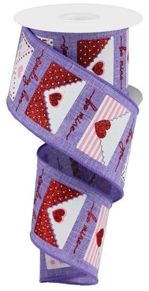 "2.5""X10yd Love Letters On Royal Lavender/White/Red/Pink"