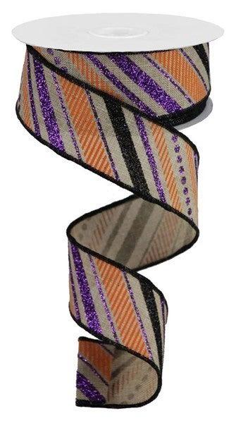 """1.5""""X10yd Multi Diagonal Stripes/Royal Nat/Purple/Black/Orange"""
