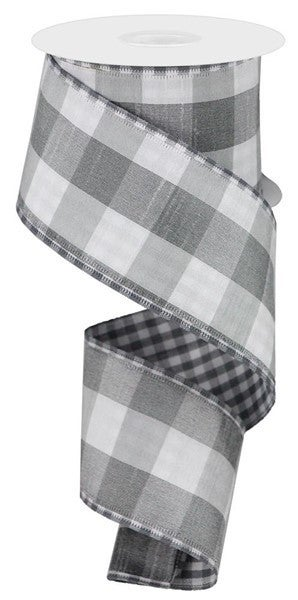 """2.5""""X10yd Large/Small Check Grey/White"""