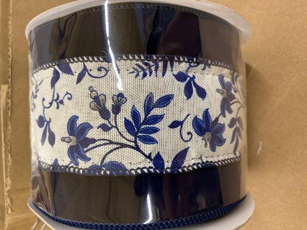 """4""""x10yd Floral Vine Velvet Wired Ribbon Blue/White"""