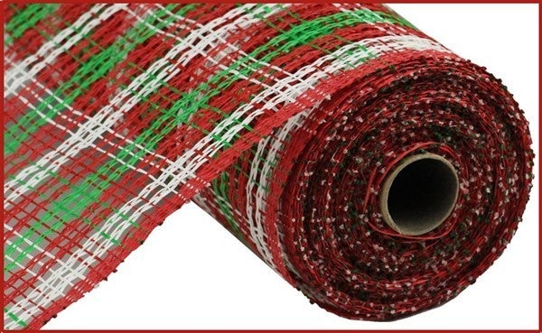 "10""X10yd Poly Burlap Stripe Check Mesh Red/White/Emerald Green"