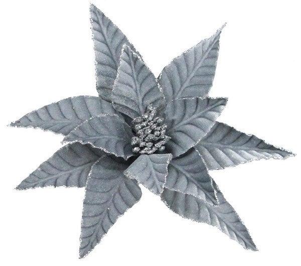 "11""Dia Velvet Poinsettia W/Clip Grey"