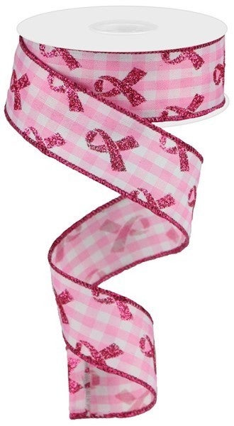 """1.5""""X10yd Glitter Breast Cancer/Gingham White/Pink"""