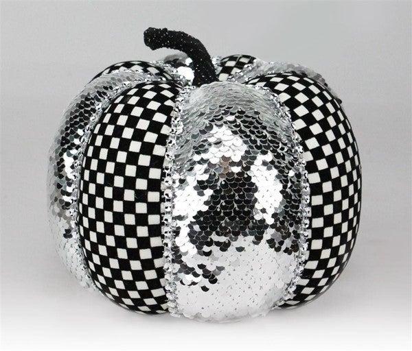"""7""""Dia X 5.5""""H Gingham/Sequin Pumpkin Black/White/Silver"""