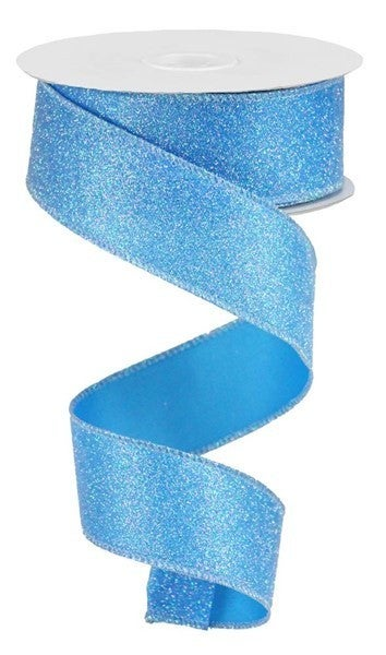 "1.5""X10yd Iridescent Glitter On Satin Blue/Iridescent"
