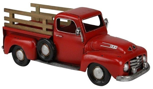 "16""L X 6.5""H Metal Truck Planter W/Fence Red/Brown"