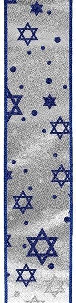 "1.5""X10yd Glitter Star Of David/Metallic SIlver/Royal Blue"