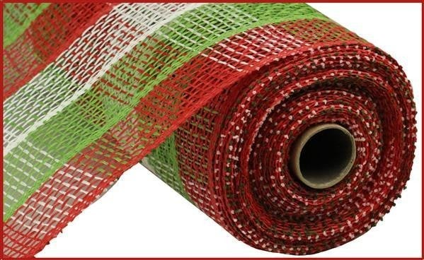 "10""X10yd Poly Burlap Check Mesh Red/Lime/White"
