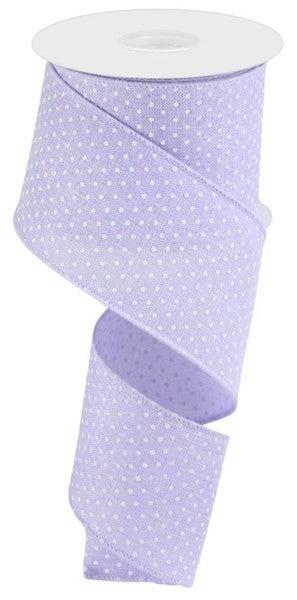 "2.5""X10yd Raised Swiss Dots On Royal Light lavender"