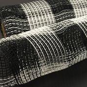 """Black White Plaid Fabric Mesh 21""""x10yd"""