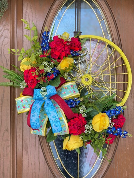 Yellow Spring Bicycle Wheel