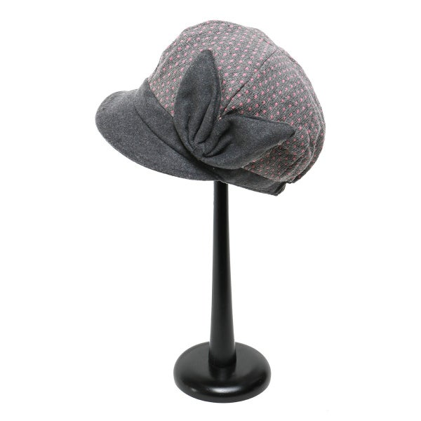GREY PINDOT HAT WITH BOW