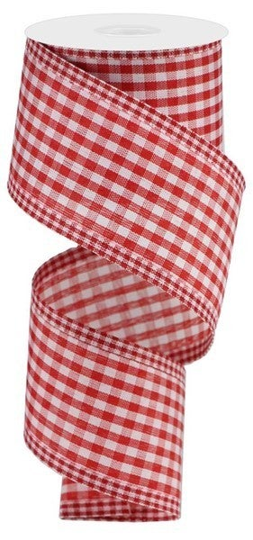 "2.5""X10yd Gingham Check/Edge Red/White"