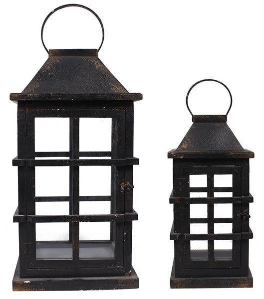Set of 2 Wood/Glass Cage