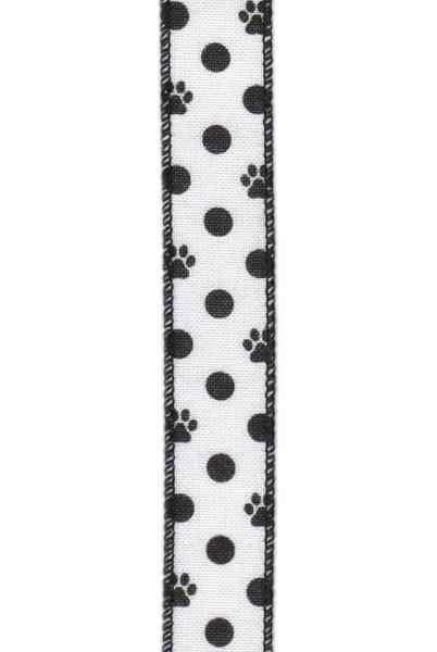 """1"""" x 10yds faux linen black dog paw & dots , white"""