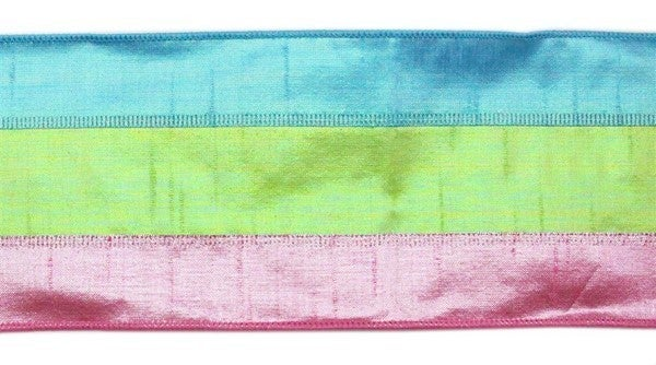 "4""X10yd 3 In 1 Metallic Faux Dupioni Color: Irid Pink/Lime/Blue"