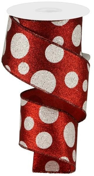 "2.5""X10yd Giant Polka Dots Red/White"