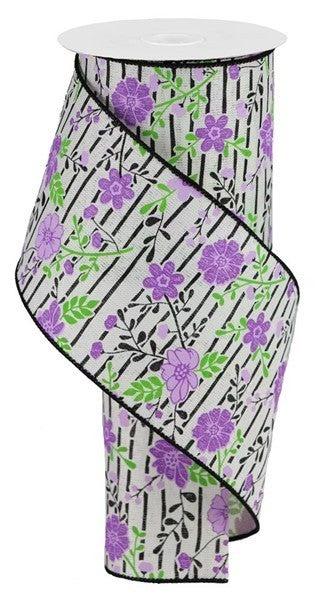 "4""X10yd Floral Lines On Royal Ivory/Lavender"