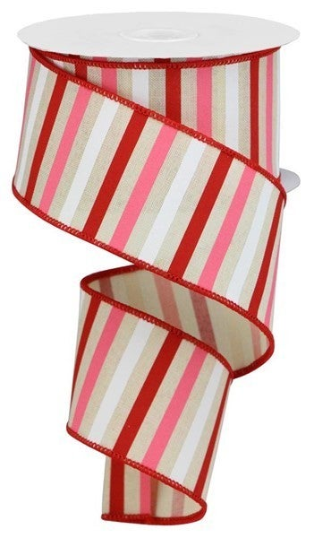 """2.5""""X10yd Horizontal Stripe On Royal Color: Cream/Red/Pink/White"""