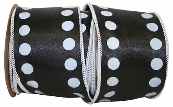 "DOTS LINE WIRED EDGE 2 1/4""x10yd Black/White"