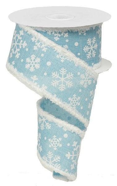 "2.5""X10yd Falling Snow/Royal/Snowdrift Light Blue/White"