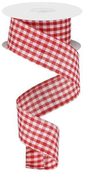 """1.5""""X10yd Gingham Check Red/White"""