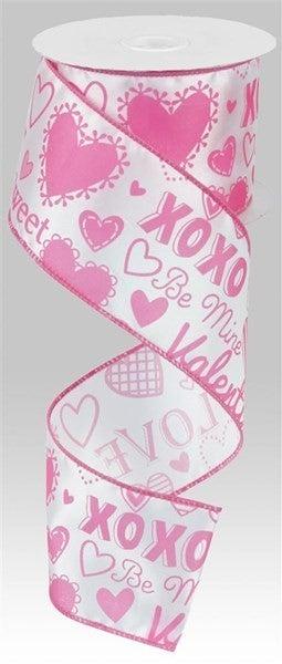 """2.5""""X10yd Valentine Words W/Hearts White/Pink"""