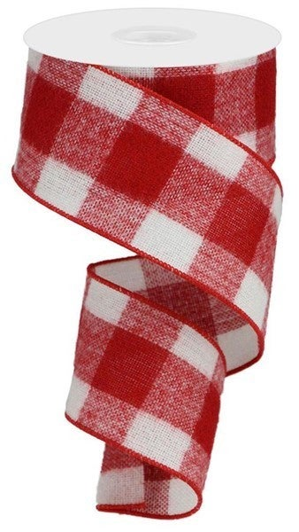 "2.5""X10yd Fuzzy Large Check Red/White"