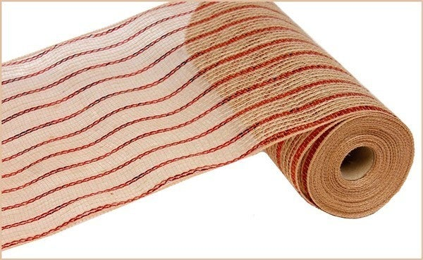 """10.5""""X10YD POLY/JUTE/METALLIC MESH Color: Red/Natural"""
