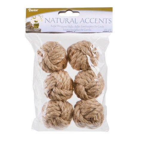 Decorative Jute Balls For Bowls: Natural Rope Monkey Fist Knot Ball, 6 Pack