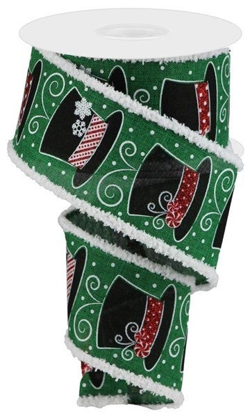 "2.5""X10yd Snowman Hats/Drift Emerald"