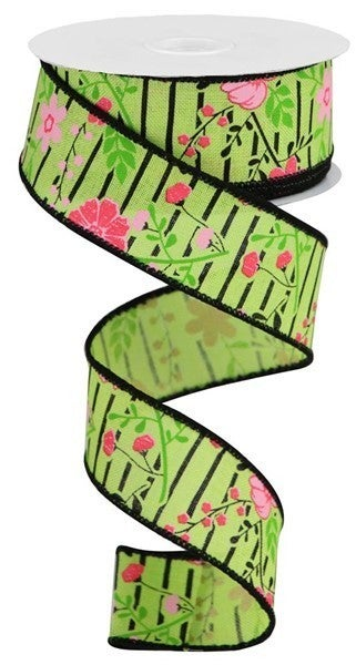 """1.5""""X10yd Floral Lines On Royal Bright Green/Multi Pink"""
