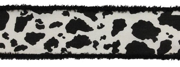 "2.5""X10yd Cow Print/Cotton W/Drift Cream/Black"