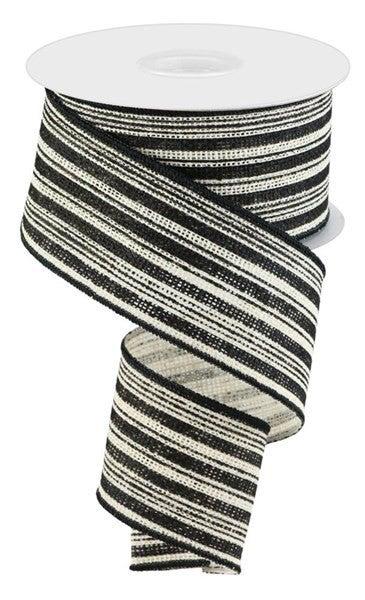 """2.5""""X10yd Vertical Stripe/Faux Burlap Color: Off White/Black"""