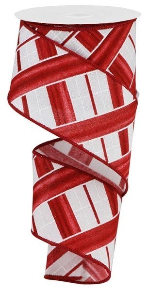 "2.5""X10yd Two Tone Stripe Check/Fuzzy Color: White/Red"