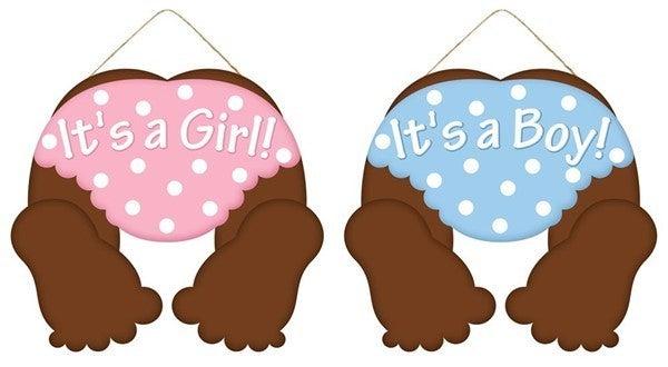 "10""L X 9""H IT'S A GIRL/IT'S A BOY SIGN"