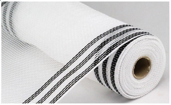 "10.5""X10yd Faux Jute/Pp/Border Stripe White/Black"