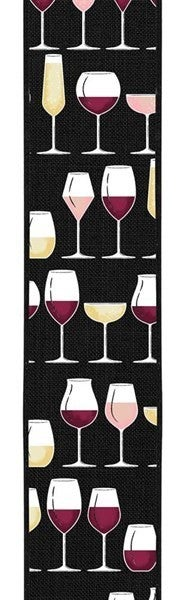 "2.5""X10yd Wine Glasses On Royal Burlap Color: Dk Brgdy/Crm/Wht/Gld/Pnk"