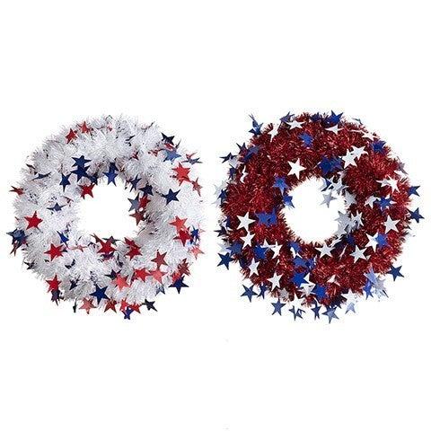 Tinsel & Star Patriotic Wreath: 18 Inches