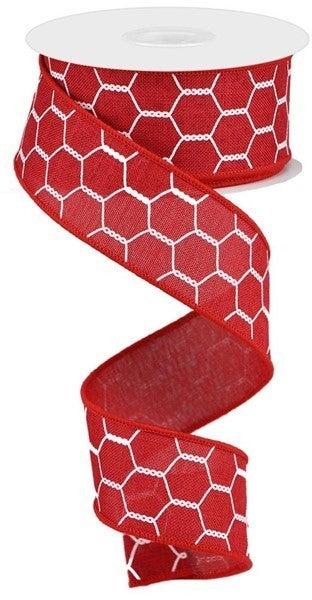 """1.5""""X10yd Chicken Wire On Royal Crimson/White"""