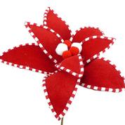 Velvet Peppermint Edge Poinsettia Pick DIA11xH11 Red