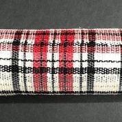 """Black/Cream/Red Fabric Plaid Mesh 10""""x10yd"""