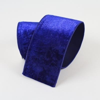 "DIAMOND DUST VELVET RIBBON - 4"" X 10YD / ROYAL BLUE"