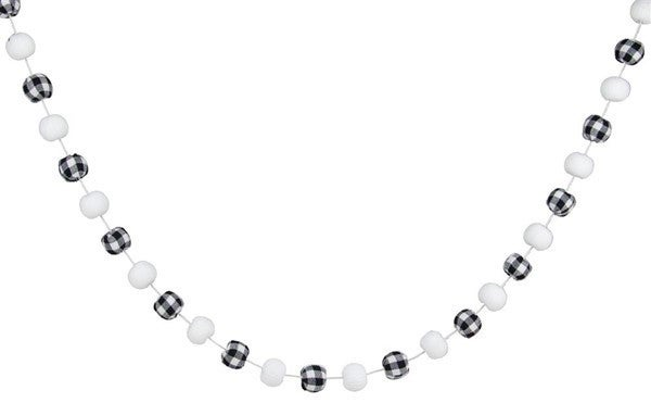 6'L Knitted/Check Fabric Ball Garland White/Black