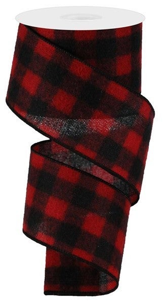 """2.5""""X10yd Woven Fuzzy Flannel Check Black/Red"""