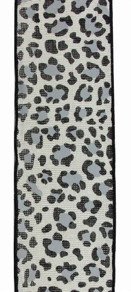 "4""X10yd Leopard On Cotton/Met Color: Ivory/Silver/Black/Grey"